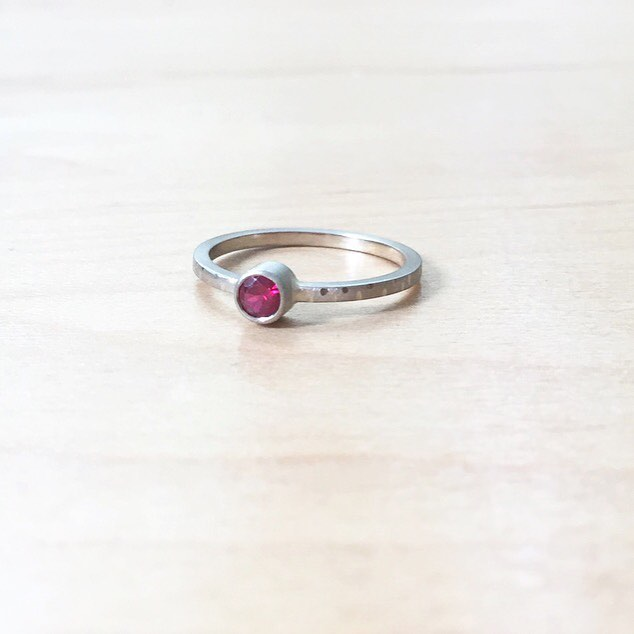 Sweet little ruby and white gold ring heading out to a client today #emilytriplettjewelry #14kgold #modernjewelry