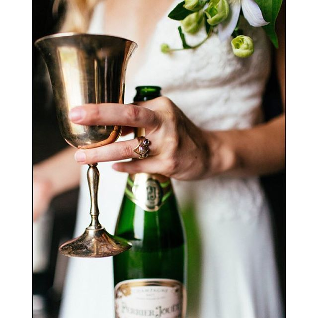Here it is on the lovely, bubbly bride ??photo by @christinakarst styling by @perfectlytay #emilytriplettjewelry #modernjewelry