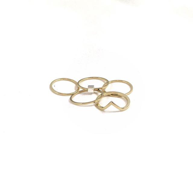 A (literal) handful of rings ?? #emilytriplettjewelry #14kgold #modernjewelry