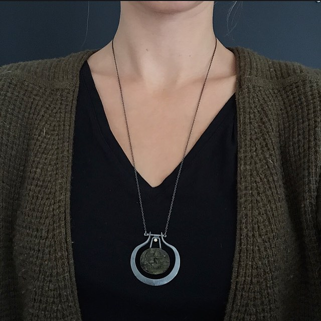 Rough green tourmaline necklace off to @lightartdesign for their annual Metals Show. Such a shame, it goes great with my new sweater! #emilytriplettjewelry #modernjewelry