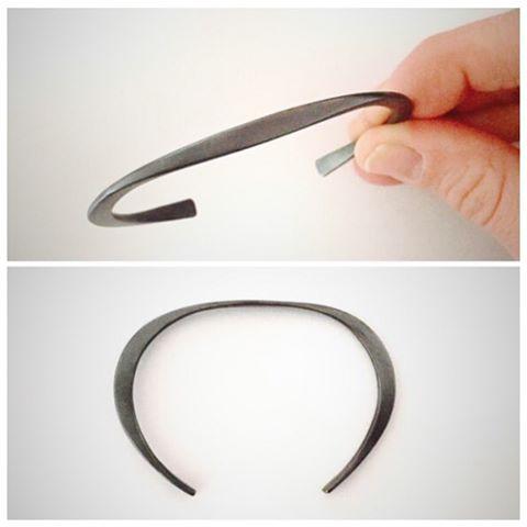 Forged + oxidized sterling cuff ?#emilytriplettjewelry #modernjewelry #cuff