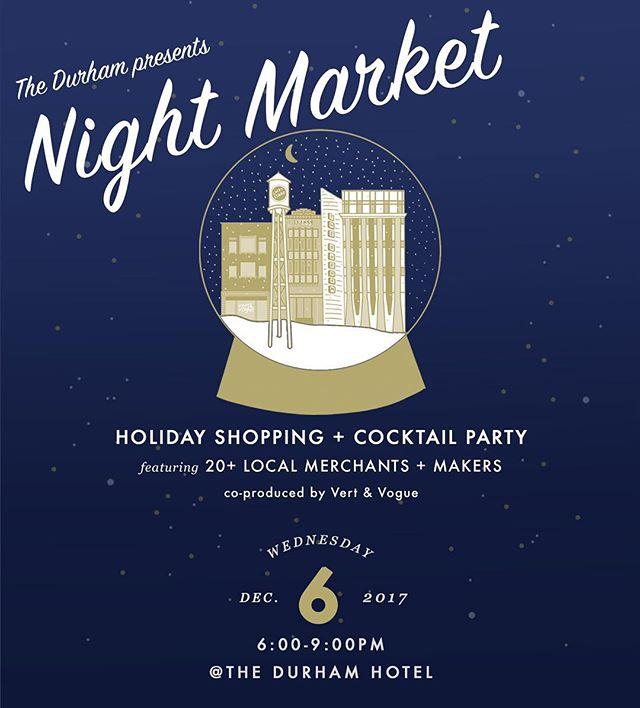 Join me for the first annual NIGHT MARKET at The Durham ✨ I will be sharing the floor with a talented selection of local artists, makers and merchants.  Come find unique and one-of-a-kind gifts for everyone on your list - or treat yourself to the gift you really want this season.  Champagne and eggnog from the bar /// RSVP @ https://m.bpt.me/event/3180825